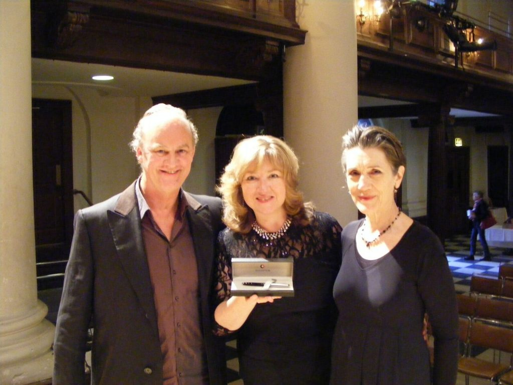 Lucy Parham, centre, with actors Tim McInnerny and Dame Harriet Waler