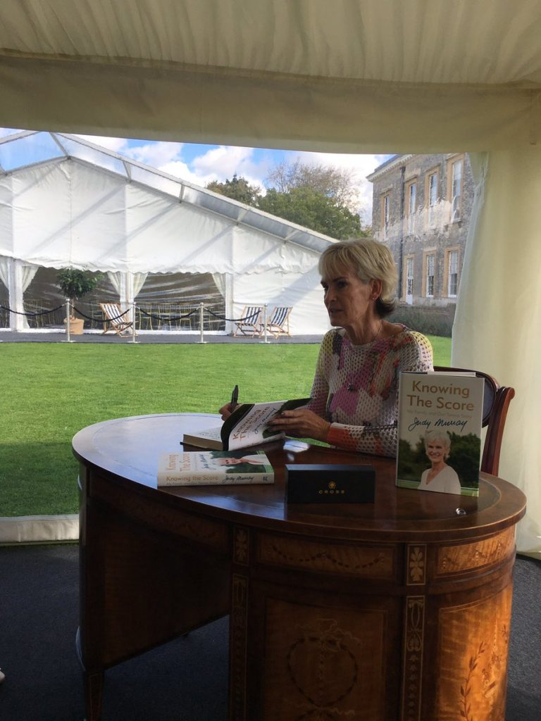Judy Murray at Althorp Literature Festival, doing the book-signing thang
