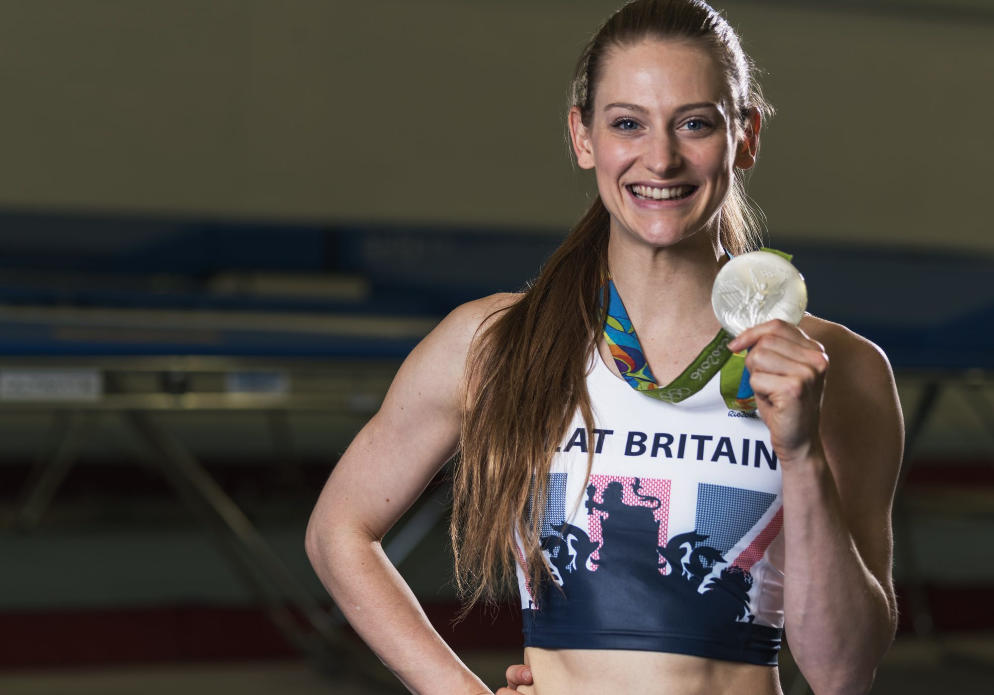 Bryony Page shows her silver medal (Image by Neil Shearer)